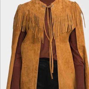 Genuine leather Zara cape with fringe